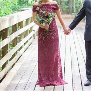 Maroon and nude lace formal gown